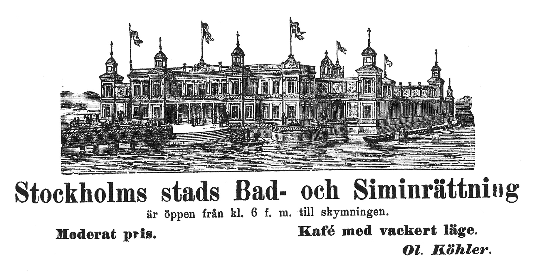 Inserzione pubblicitaria per i Flottans Badhus, 1898
