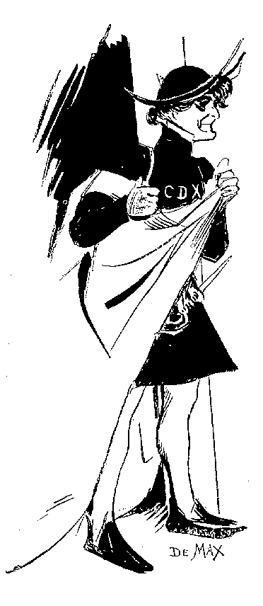 Édouard de Max dans le rôle d'Homodei, dans Angelo, tyran de Padoue, vu par Lourdey en 1905