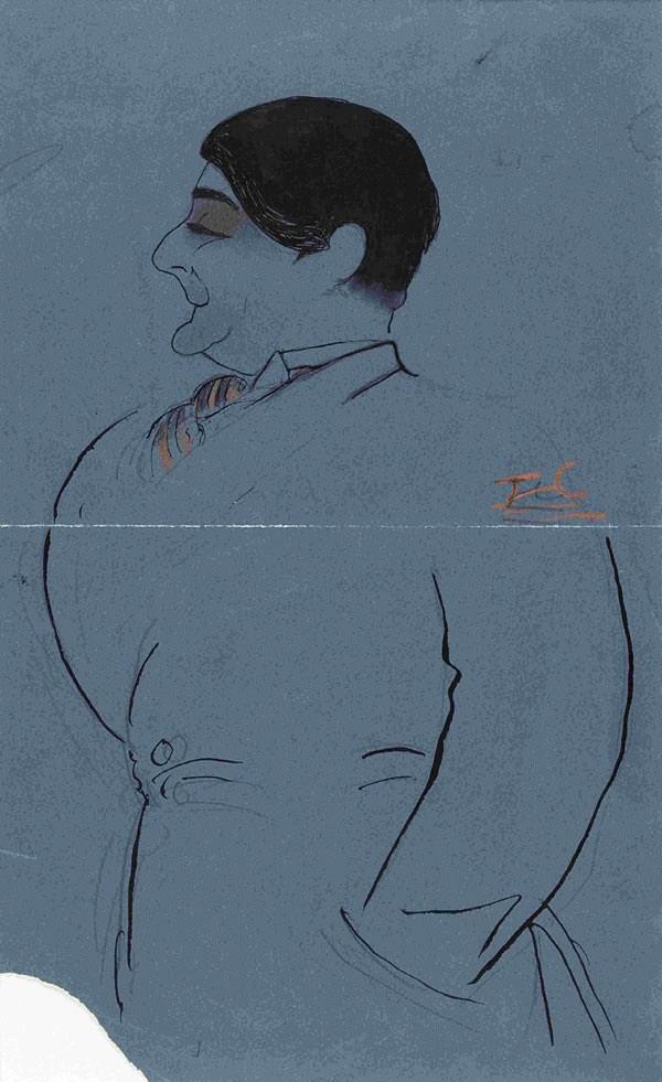 JEAN_COCTEAU_Edouard de Max], vers 1910. Dessin 30 x 18 cm. Collection particulière.