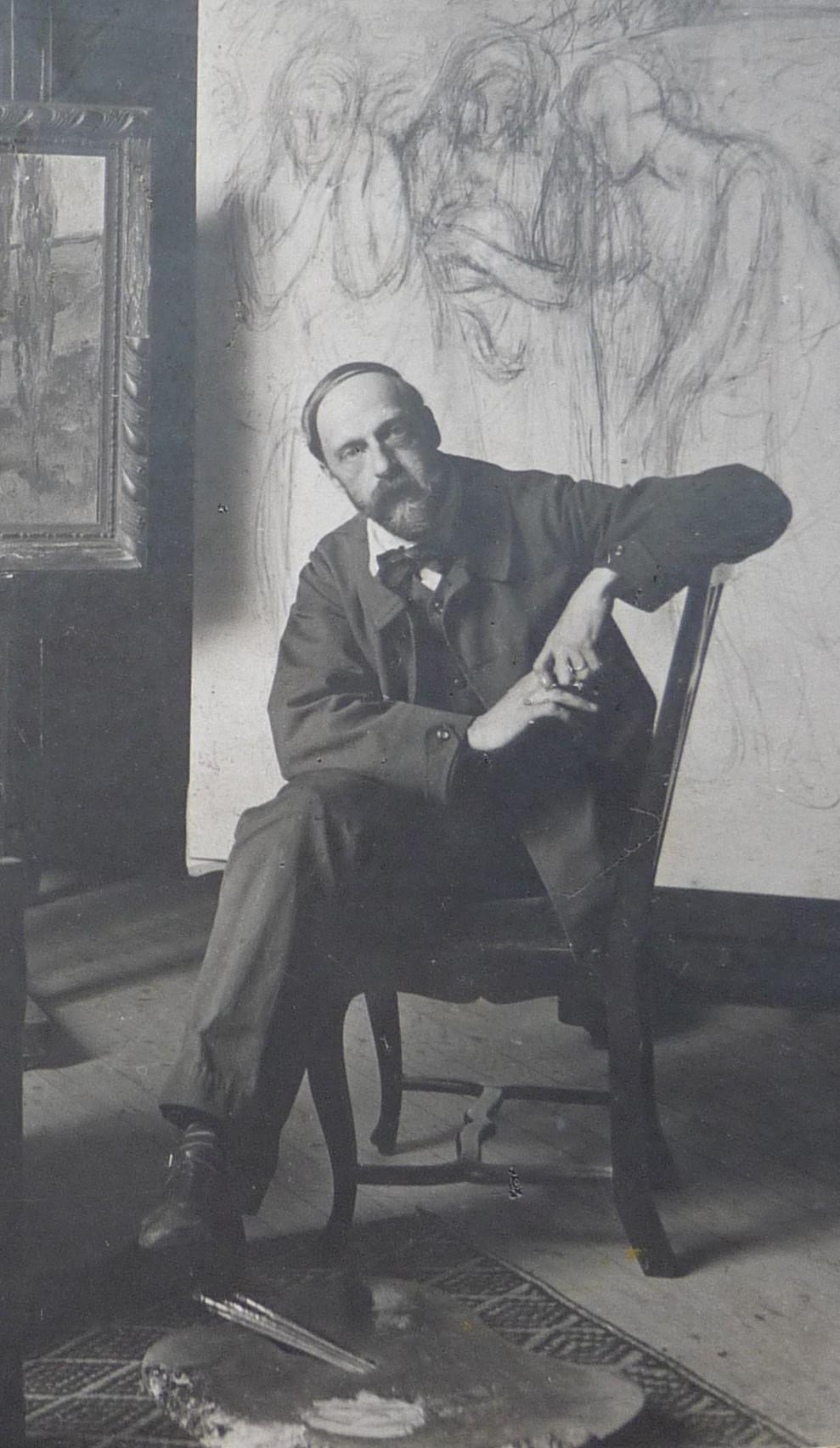 1908_Alfredo_Müller_dans_son_atelier,_73,_rue_Caulaincourt,_Paris