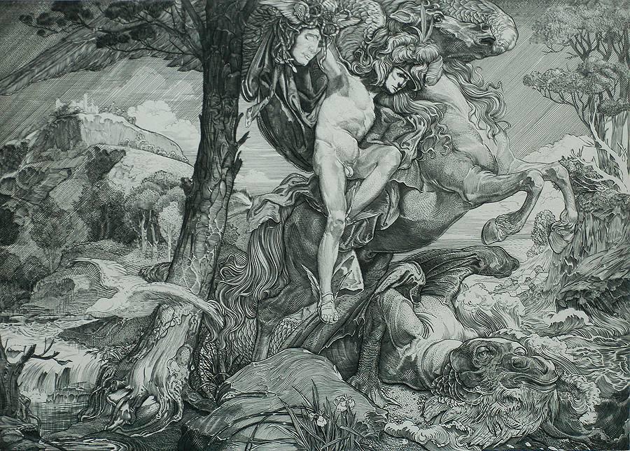 JOHANNES AARTS, Perseo con la testa di Medusa, 1904, incisione