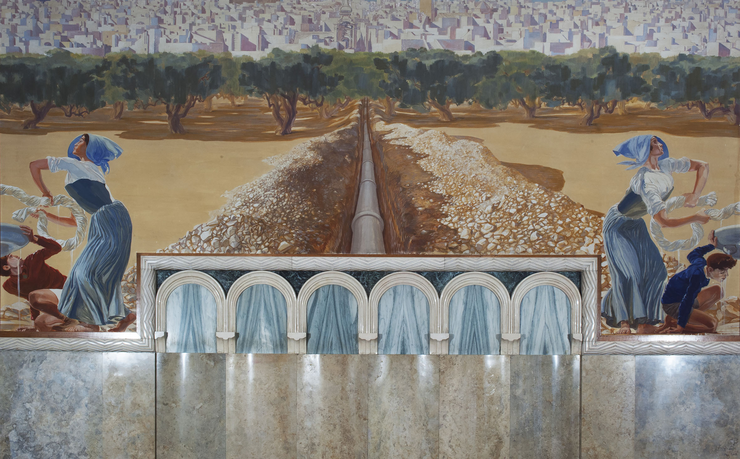 Duilio-Cambellotti-Palazzo-dell'Acquedotto-Pugliese-Sala-del-Consiglio-tela-parete-centrale