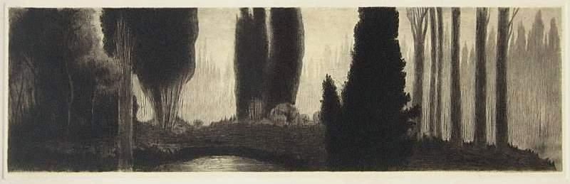 Cipressi, 1913. Acquaforte e puntasecca