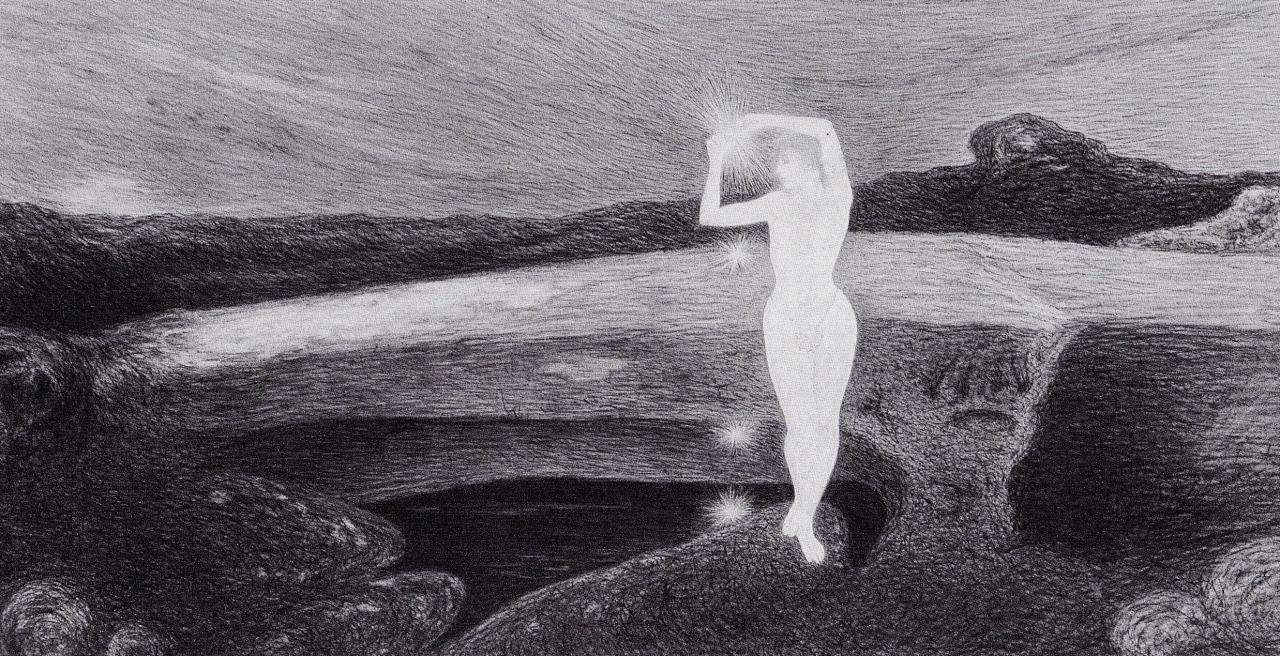 L'ermafrodito, 1908. Carboncino