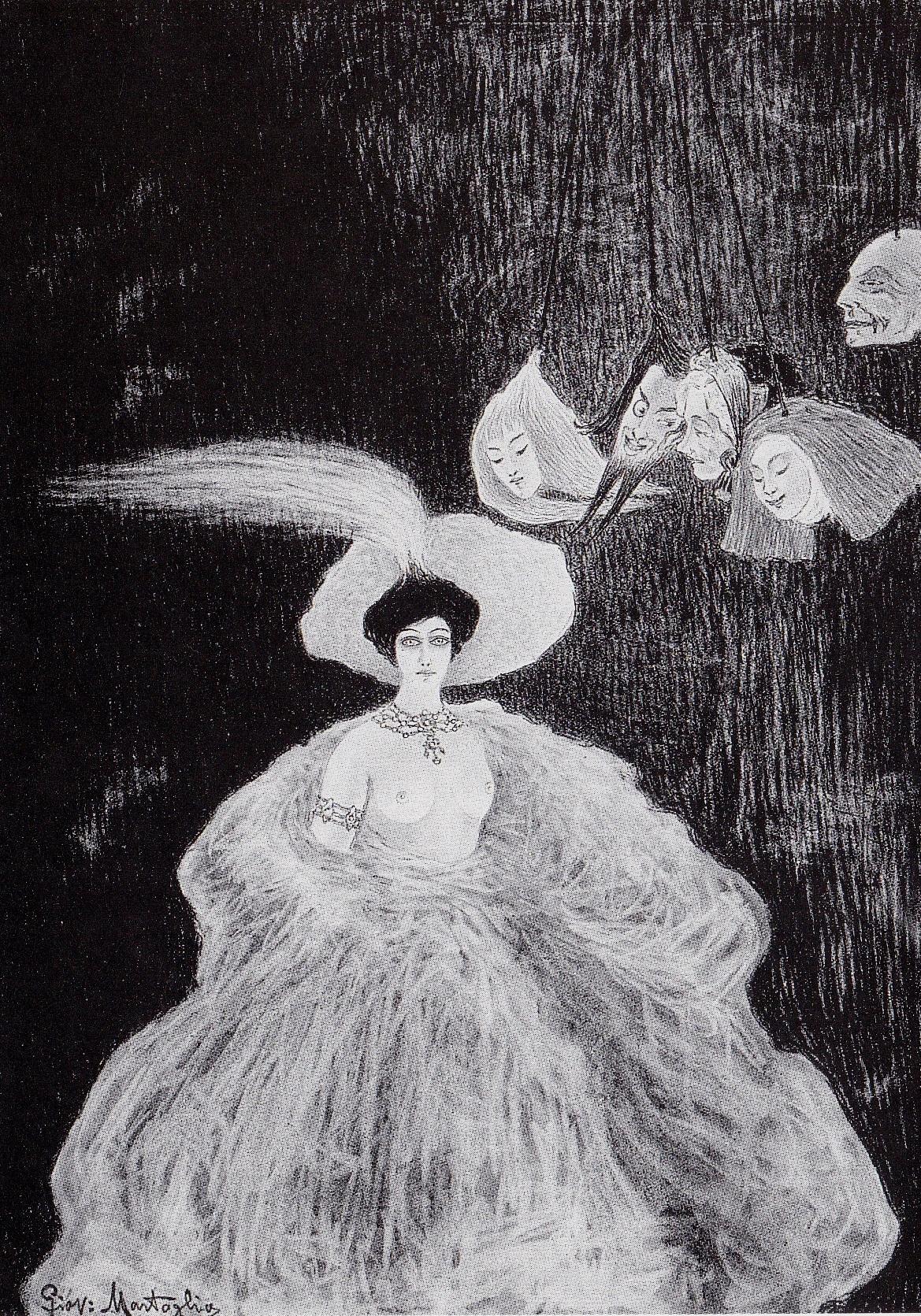 La Chimera al Teatro di Marionette, 1908. Carboncino e pastello