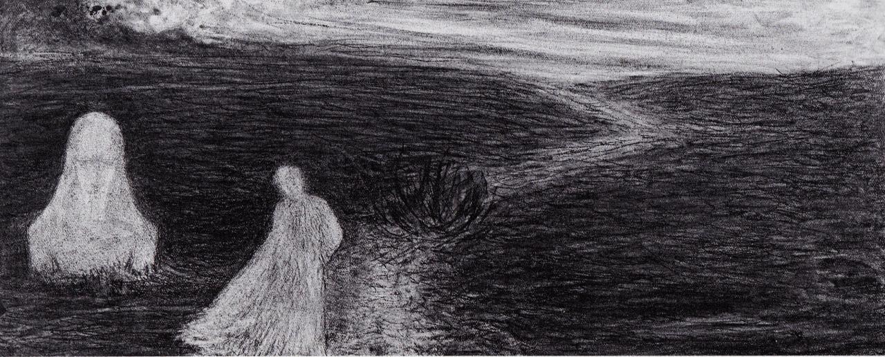 La Sfinge dell'Arte, 1908. Carboncino