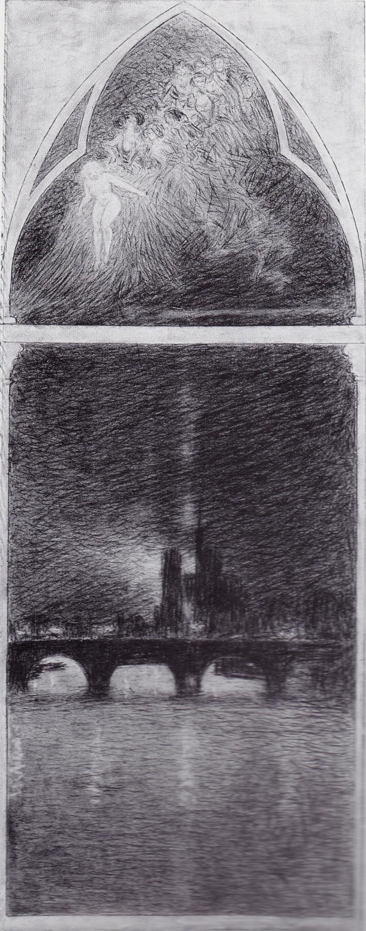 Notte a Parigi, 1906. Carboncino