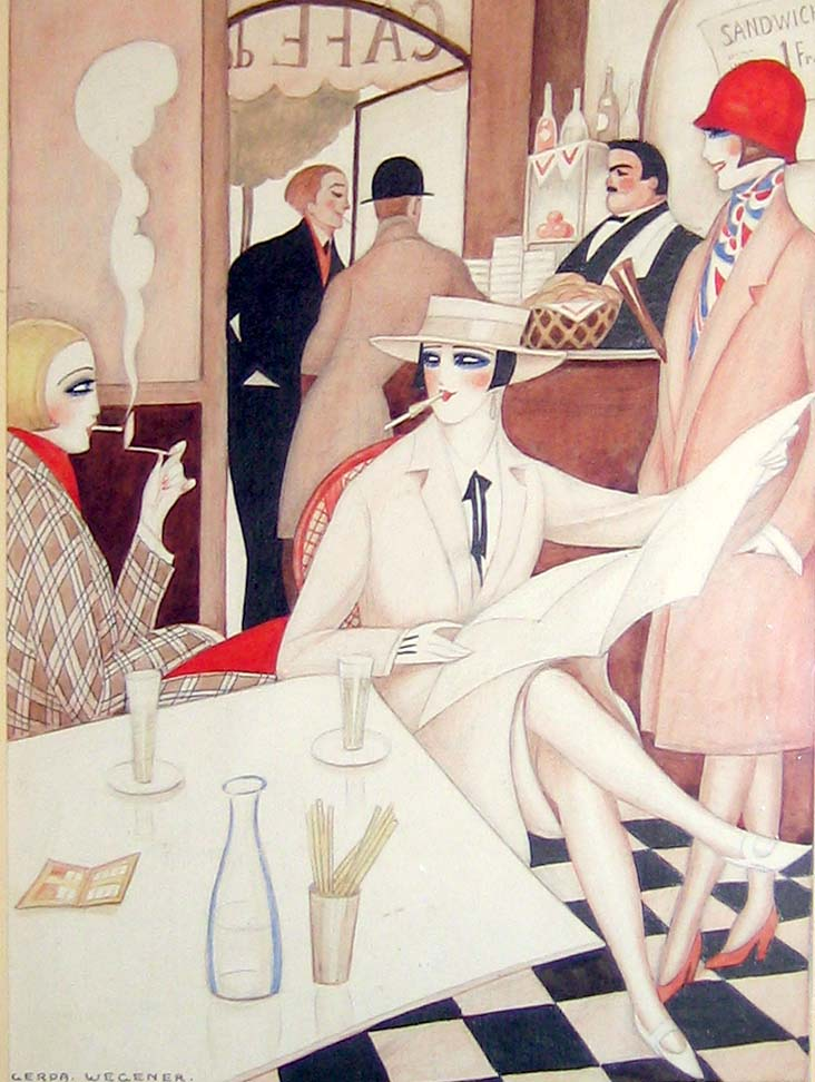 "Cafe"" by Gerda Wegener, c. 1925"