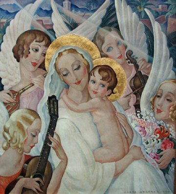 Gerda Wegener 1885-1940, Madonna and child with angels making music 1935