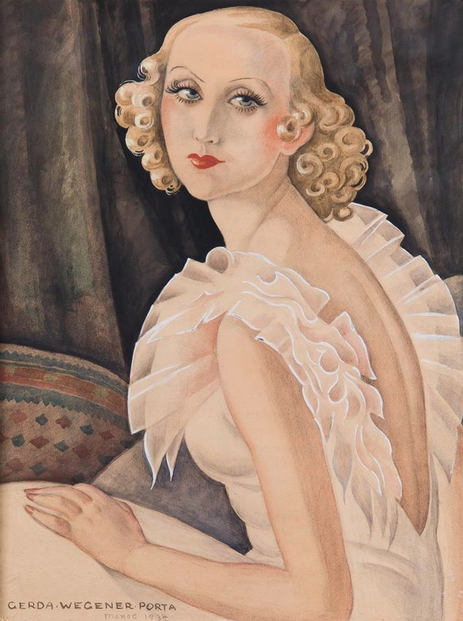 Gerda Wegener, (1886-1940), 1934, Unknown title (Portrait of Maggi Baaring, 1913-2004), Oil on canvas.