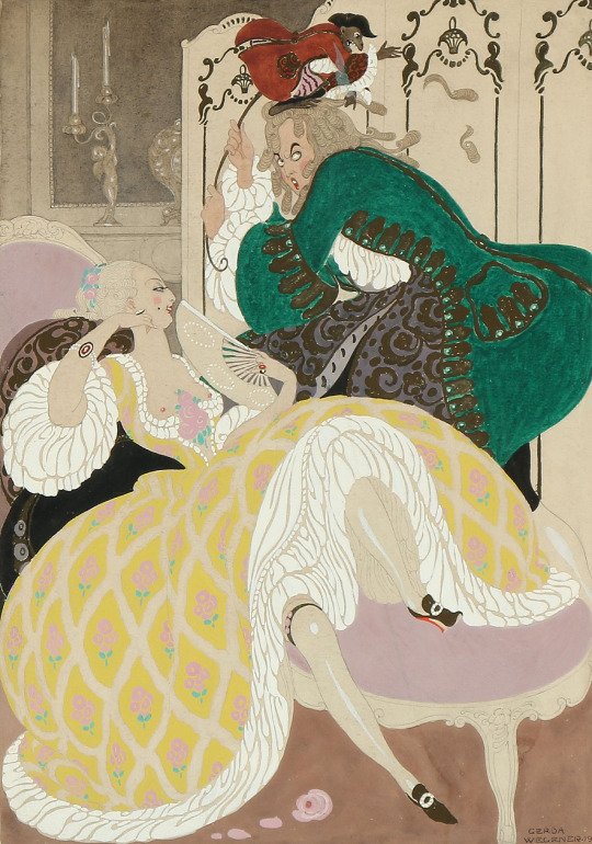 Gerda Wegener (Danish, 1886-1940), An elegant couple in a rococo interior, 1919. Gouache and watercolour on paper.
