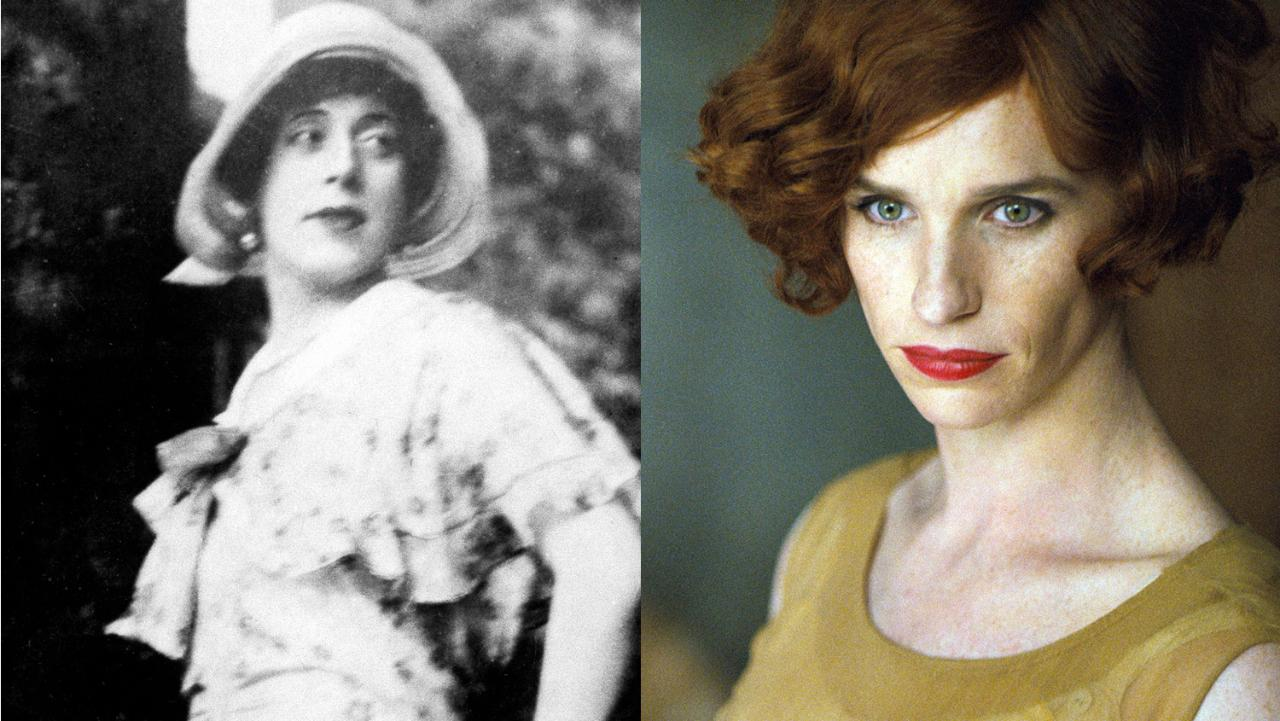 Lili Elbe (left), whose life story is told in 'The Danish Girl', starring Eddie Redmayne (right)