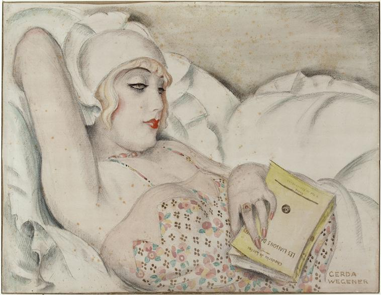 Painting of a woman with a book by Gerda Wegener, 1922