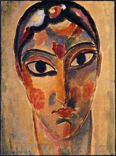 Mystical Head: Head Ascona; Mystischer Kopf: Asconeser Kopf. Alexej von Jawlensky (1864-1941). Oil on board. Painted in 1918. 40 x 29.7cm.